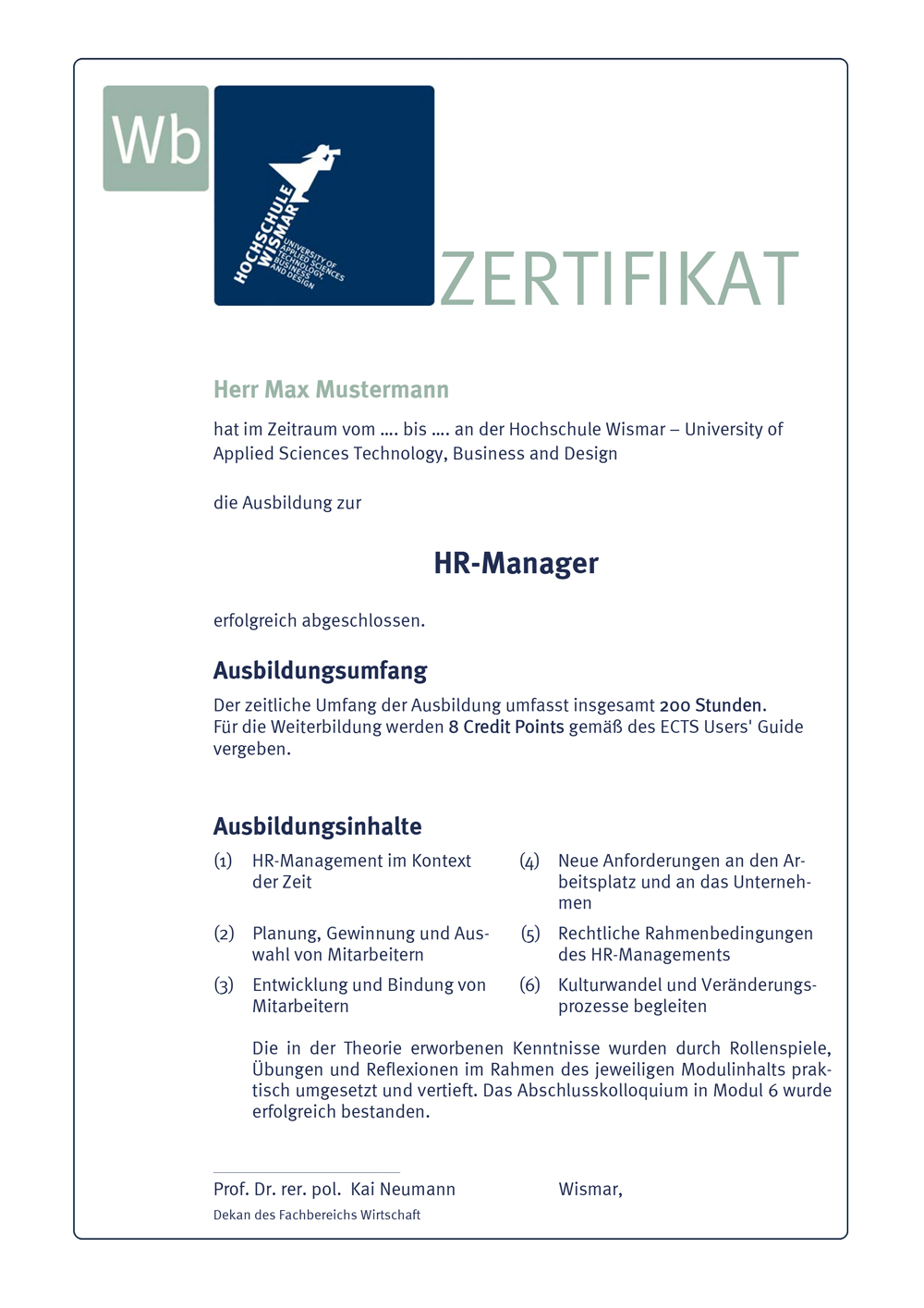 Zertifikat Weiterbildung Humans Resources